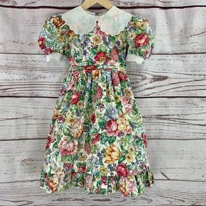 Sylvia Whyte vintage girls floral dress ruffle
